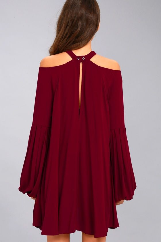 Free People Drift Away Burgundy Cold Shoulder Tunic Top 4