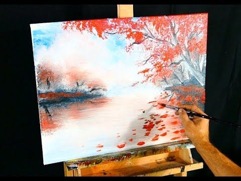 Easy painting fall season landscape with red trees and water reflection acrylic paint – YouTube