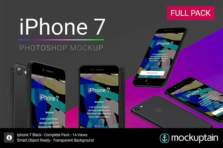 Easily Customizable iPhone 7 Mockup Bundle by Mockuptain - only $8!