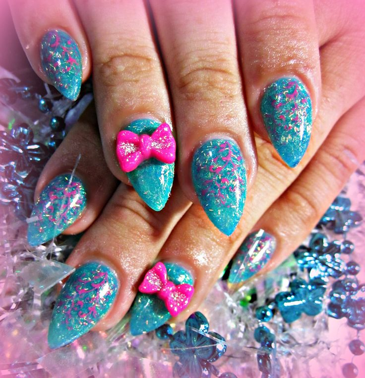 blue with 3d bows acrylic nails nails pinterest hot