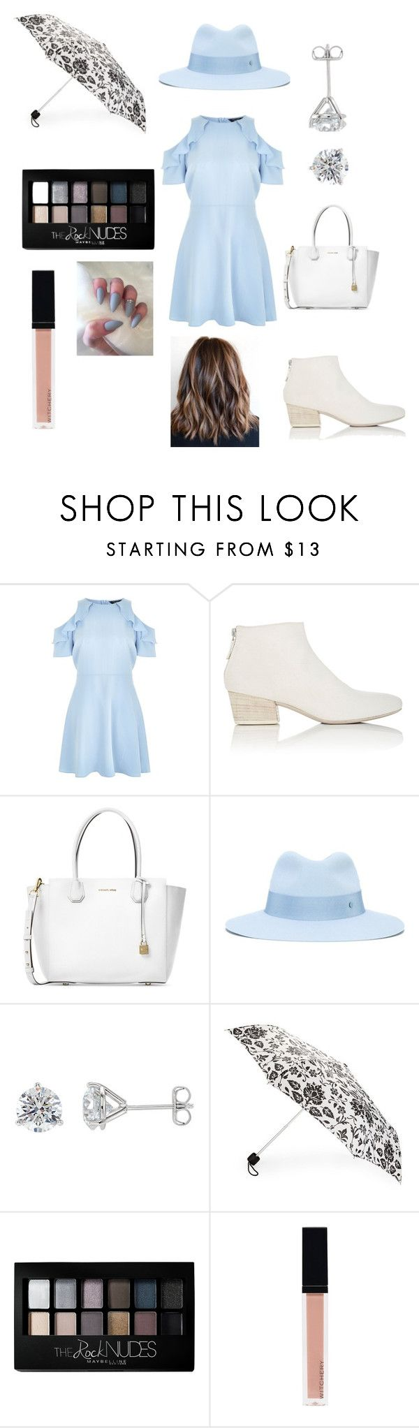 """""""A Rainy Day 🌧"""" by savannah-smith-6 ❤ liked on Polyvore featuring New Look, Marsèll, Michael Kors, Maison Michel, Fulton, Maybelline and Witchery"""