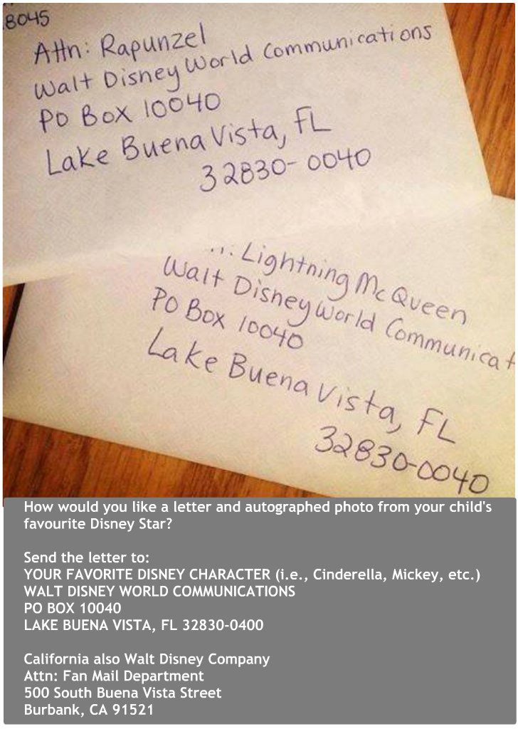 Cute idea for those kids who love disney characters.  Something to look forward to in the mail!