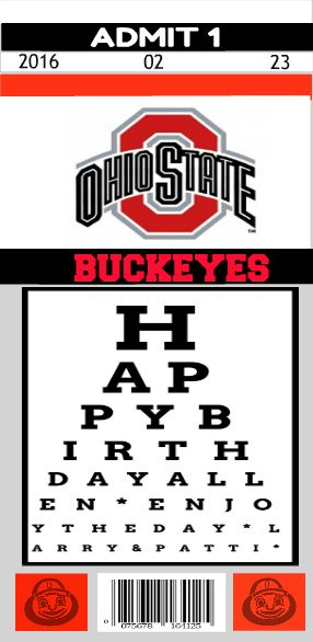 I wanted to have a very personalized birthday greeting for the inside of a card I made for my brother-in-law.  First, I created an Ohio State  football jersey shaped card.  I then created an eye chart design for the birthday greeting.  I uploaded it to PicMonkey and created a game ticket.  The ticket info is actually his birthday month, day and year.