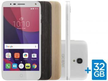 """Smartphone Alcatel POP4 5 Premium 8GB Branco 4G - Câm. 13MP + Selfie 8MP Tela 5"""" HD com Cartão 32GB"""