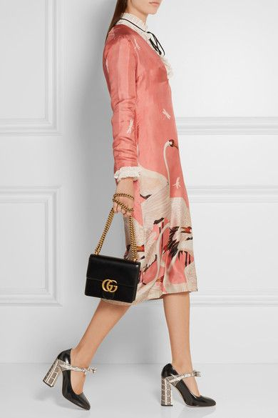 Gucci - Bow-embellished Elaphe And Leather Pumps - Black - IT35.5