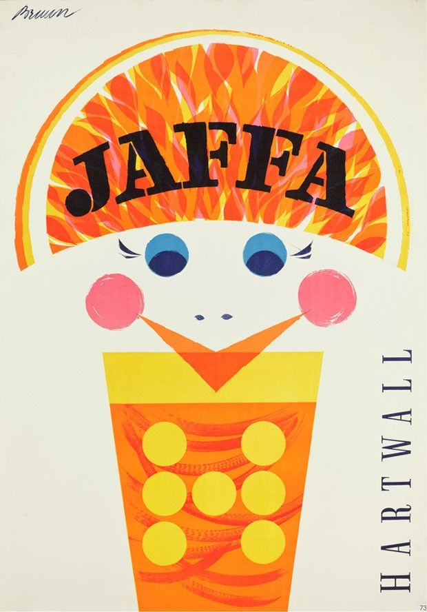 Pôster Jaffa, de Erik Bruun para Piirtopaino Oy, década de 1960