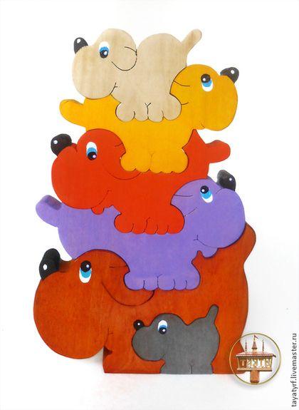 Развивающие игрушки ручной работы. Собачки деревянный паззл. Якимцова Ирина. Интернет-магазин Ярмарка Мастеров. Развитие мелкой моторики