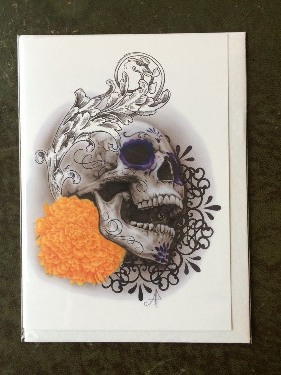 Day of the Dead Skull  and marigold Original Art Blank Greetings Card