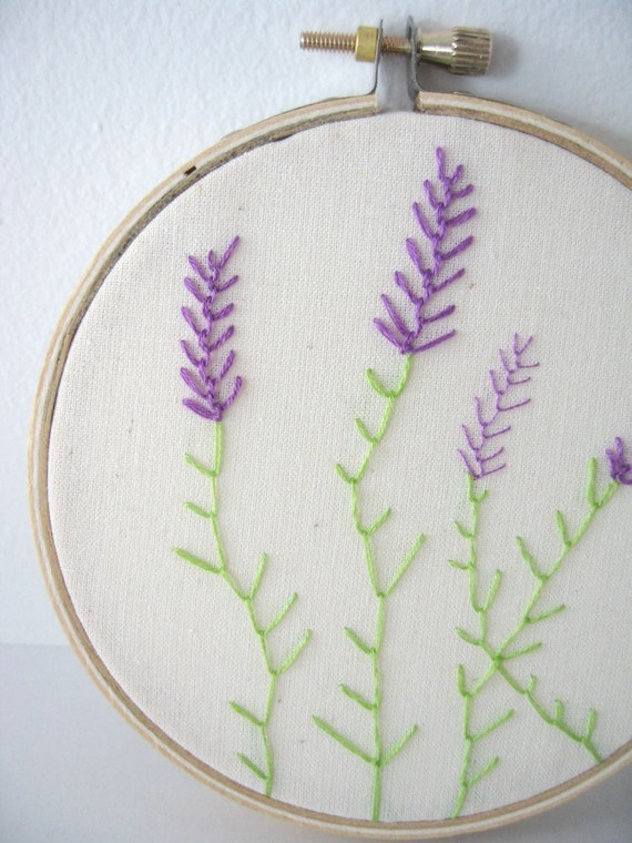 Embroidery Hoop Art  Lavender by flamelilyphotos on Etsy, $25.00