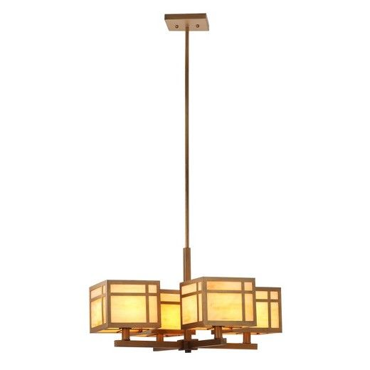 Bringing stunning Art Deco style to your home with the Safavieh Craftsman Chandelier Ceiling Light in Gold. Each of the chandelier's 4 arms is a square metal rod, and the cubical shades continue the crisp geometric lines. Made of metal, the lamp's body is a dark antique gold with a brushed finish. Crafted from glass, the lamp shades come in creamy white marbled with golden tan. This stunning ceiling light will surely be a conversation piece, shining with vintage glam.