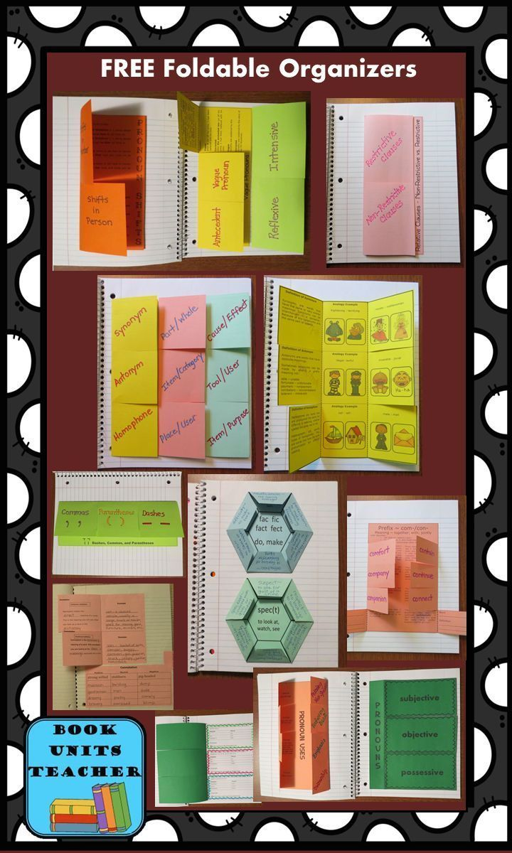 FREE foldable organizers covering the following Common Core Standards: CCSS.ELA-Literacy.L.6.2.a (commas, parentheses, dashes), CCSS.ELA-Literacy.L.6.1 (pronouns), CCSS.ELA-Literacy.L.6.4.b (affixes and roots ), CCSS.ELA-Literacy.L.6.5.b (analogies), and