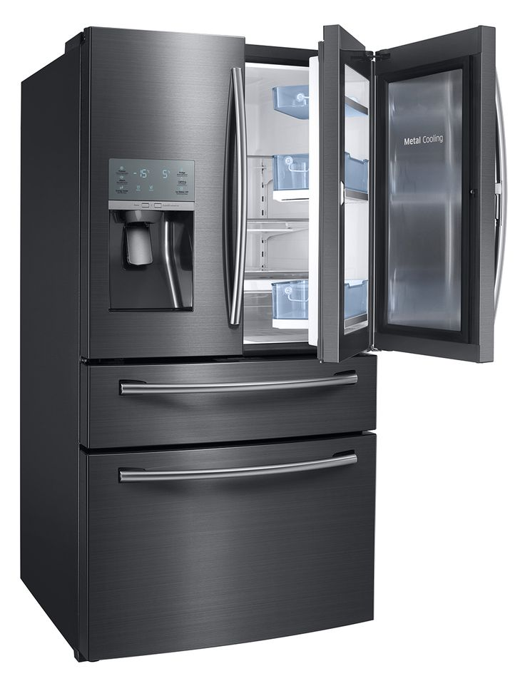 """Samsung Appliance 36"""" Black Stainless Steel Series Energy Star Rated Food Showcase French Door Refrigerator with 27.8 cu. ft. Capacity, Metal Cooling, External Ice and Water Dispenser and Twin Cooling Plus: Black Stainless RF28JBEDBSG at appliancesconnection.com. The Energy Star rated french door refrigerator comes with the Food ShowCase door for easy reach of items that are most often used. #foodshowcase #powerfreeze #powercool"""