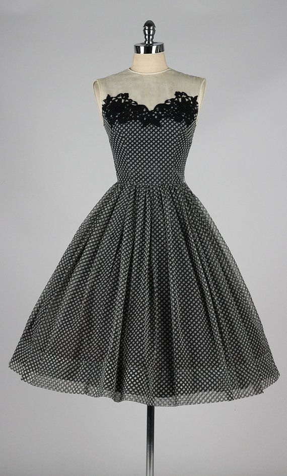Vintage 1950s dress . checked chiffon . illusion cocktail dress . 4291