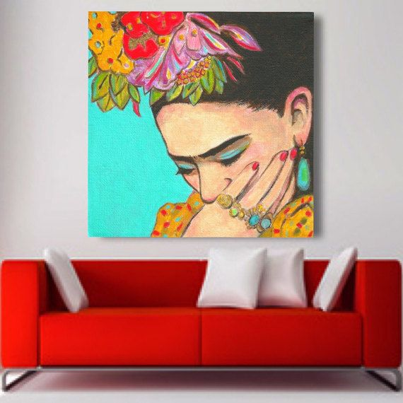 FRIDA THINKS Already discounted 30% today no need of coupon. Bring the colors and spirit of Mexico to your home and spice up your walls! This beautiful Premium Canvas Gallery Wrapped print of Frida Thinks is from my original painting inspired by Fridas love of Native Mexican dress and jewelry. This canvas print is mounted on a sturdy wooden frame. The sides measure 1.25 and are black. Perfect corners. The sturdy backer board prevents any sagging of the UV protected canvas, keeping it tig...