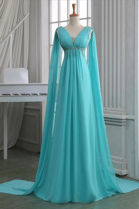 Sequins Ruched V Neck Empire Prom Dress, Turquoise Floor Length Sweep Train Prom Dress, Unique Lace-up Long Chiffon Prom Dress, #020102701