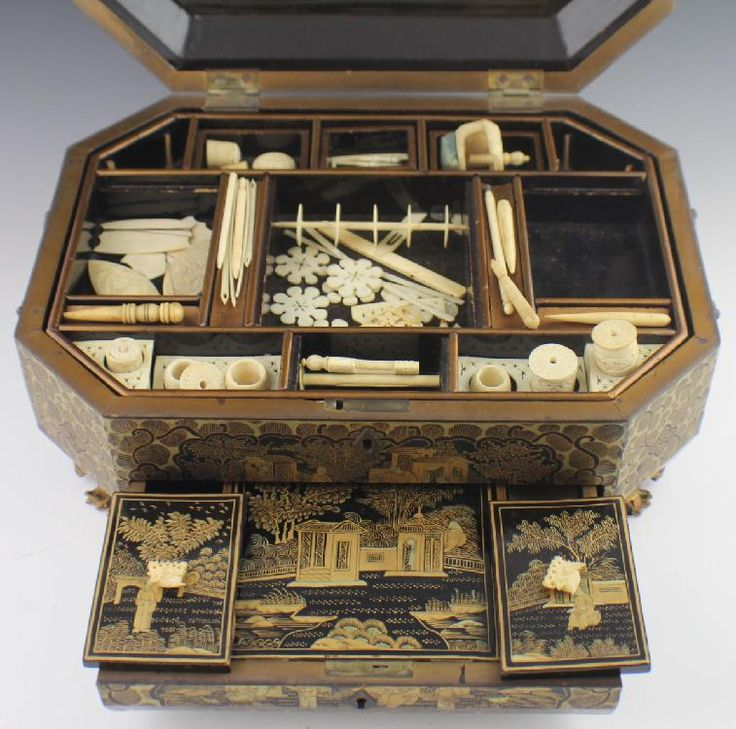 JAPANESE MEIJI PERIOD LACQUERED SEWING BOX - My new antique sewing box for the Antique Sewing and Needlework Tools Display. It's got all the tools!