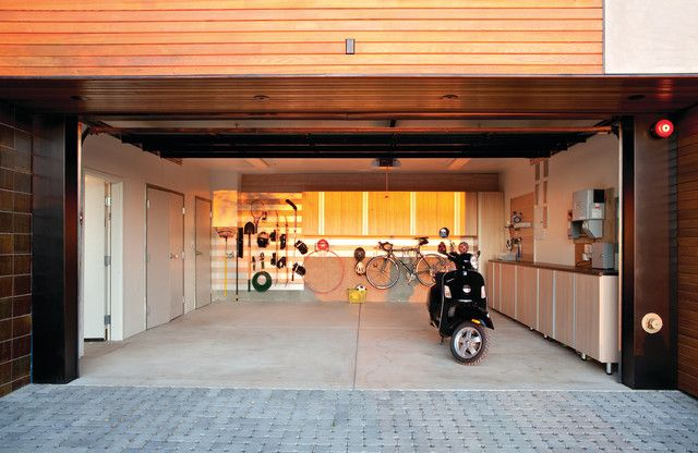 Marvelous Garage Storage Ideas for Great Space Arrangement: Awesome Contemporary Garage And Shed Design Used Cream Garage Storage Ideas Combined With Creative Bike Storage Ideas In Wall Design ~ sfxit.com Interior Inspiration