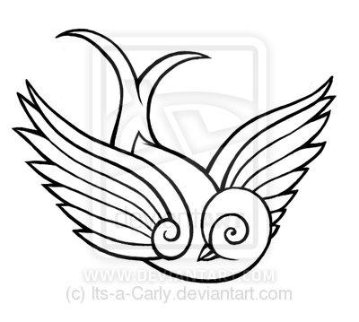 Best Bird Outline Tattoo Designs Images On   Bird