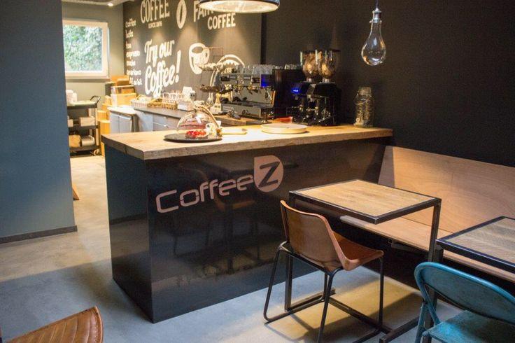 Koffiebar in kapperszaak logo laseren in stalen plaat robuust maatwerk meubels pinterest - Tafel stockholm huis ter wereld ...