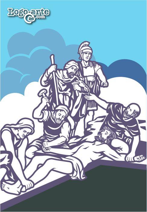 """Décima estación del Viacrucis: Cristo es clavado a una cruz patibular, o sea con travesaño. Cuando llegaron al lugar llamado """"La Calavera"""", lo crucificaron allí, a él y a los dos malhechores, uno a la derecha y otro a la izquierda."""