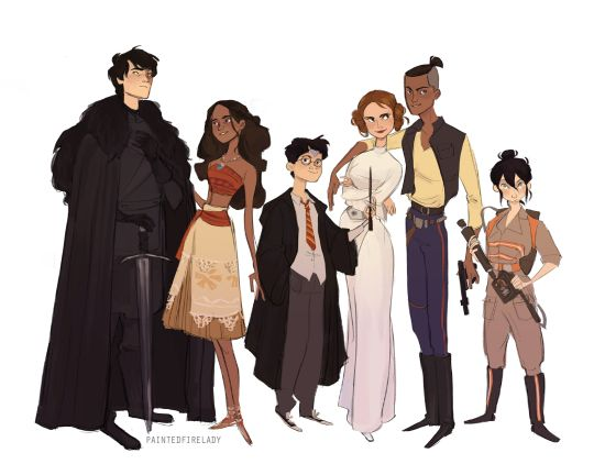 Avatar characters as other pop culture figures: Zuko -> Jon Snow, Katara -> Moana, Aang -> Harry Potter, Suki -> Princess Leia, Sokka -> Han Solo, Toph -> one of the ghostbusters