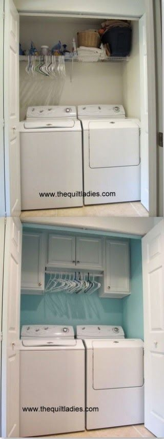 before and after of a laundry room closet by The Quilt Ladies