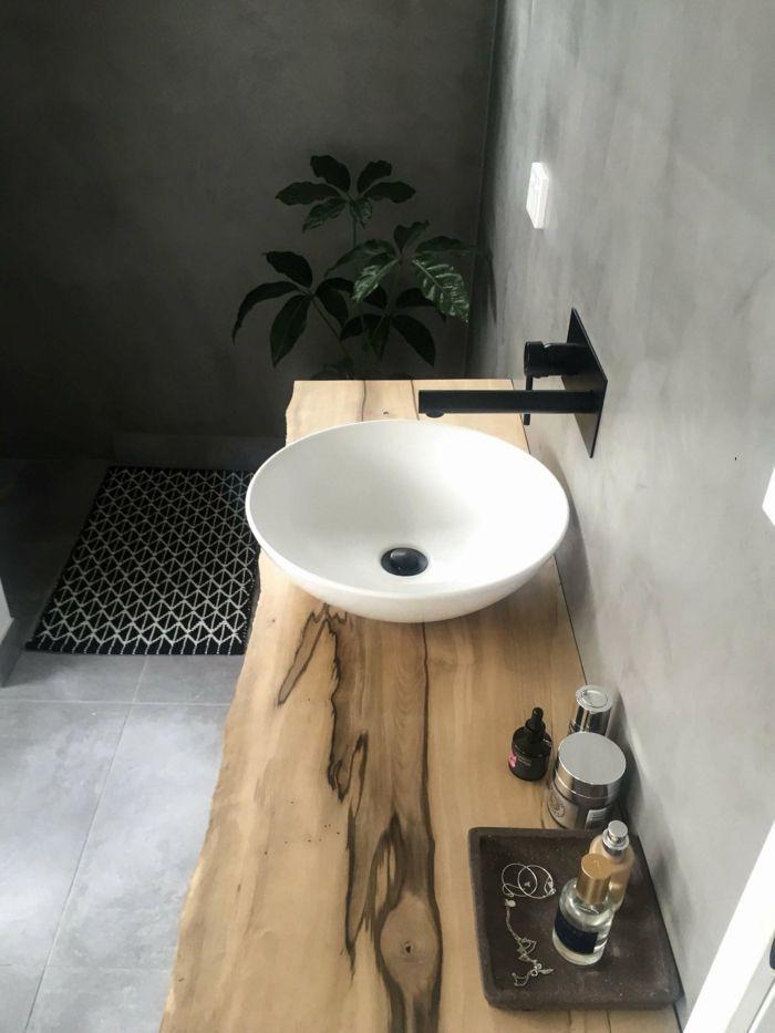 Badideen für kleine Bäder, ein rundes Waschbecken, Holzplatte, sein