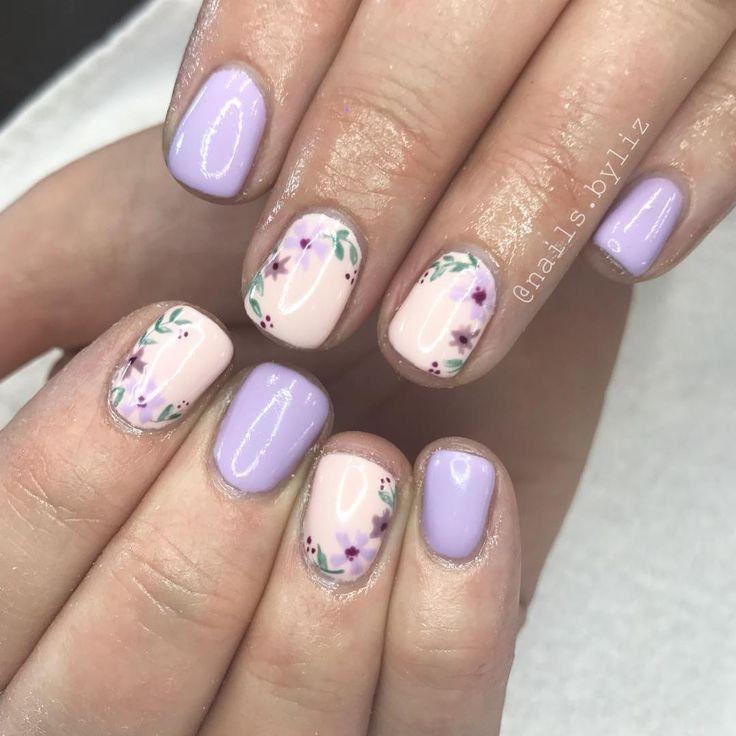 . . . . #nails #nailstagram #naturalnails #gelnails #gelpolish #floralnails #summer #summernails #nailart #handpaintednailart #orem…