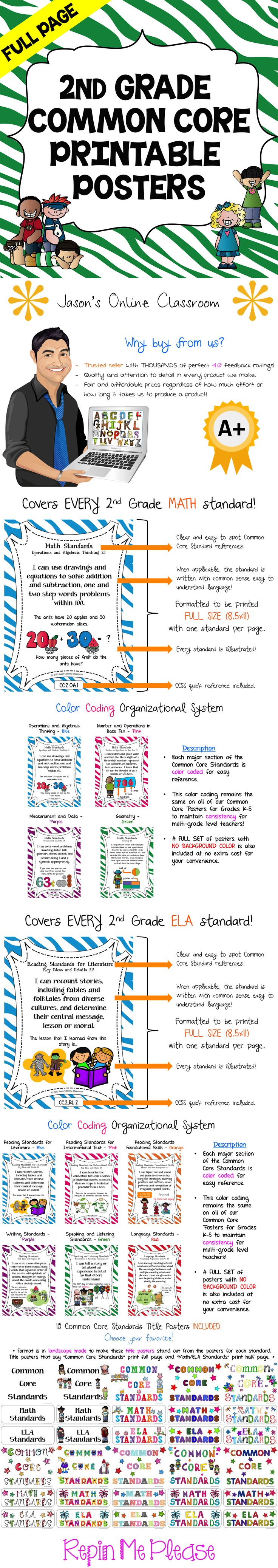 2nd GRADE COMMON CORE POSTERS - Save a ton of time by buying our FULL PAGE SIZE pre-made Common Core color coded posters with detailed visual examples. We also offer half-sized posters which can be found at our TpT store. $$