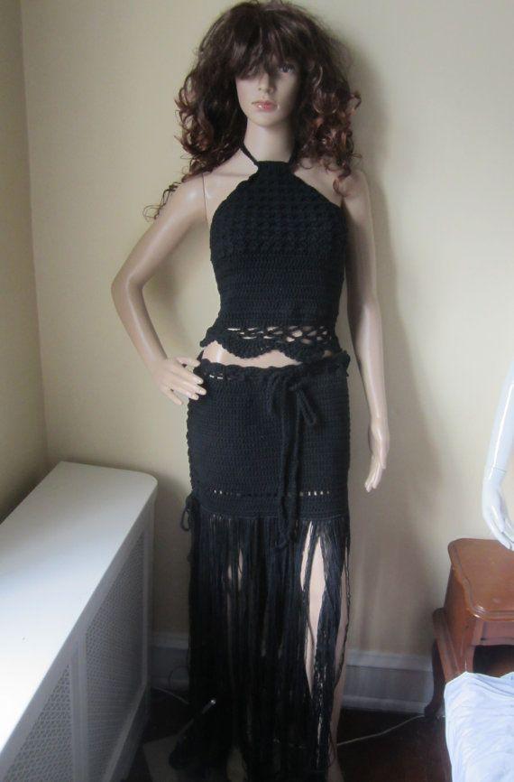 CROCHET MAXI SKIRT Boho fringe skirt beach by Elegantcrochets