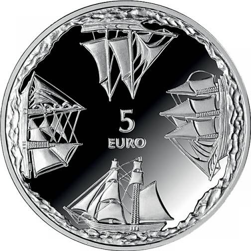 Latvian 5 euro issue 2014, for a sailing school. A schooner North, a cutter West, a ketch South and a fisherman's mother ship East.