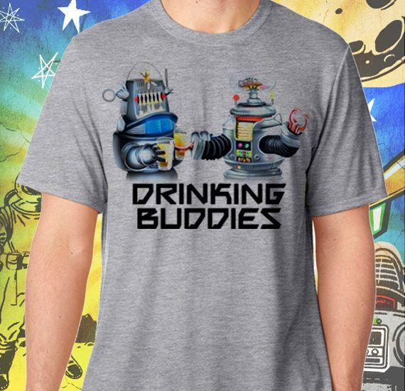 B9 and Robbie Robot Drinking Buddies Men's Grey T-Shirt