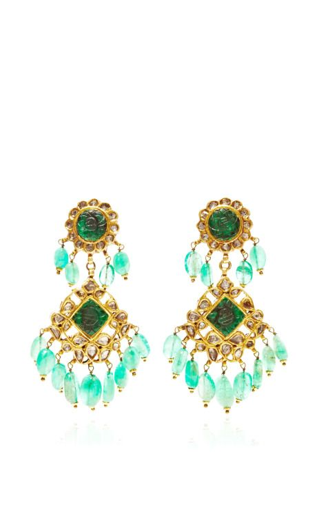 Emerald Indian Earrings In Gold by Kirat Young for Preorder on Moda Operandi