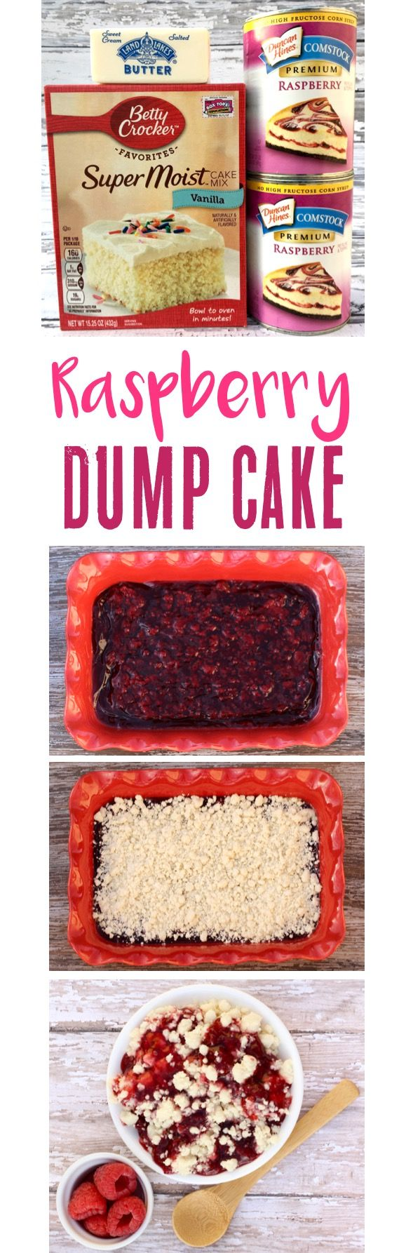 Raspberry Dump Cake Recipe!  Just 3 ingredients and you've got the most delicious EASY dessert!   TheFrugalGirls.com