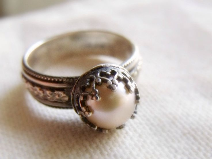 Crown Pearl Ring - Sterling Silver Wide Floral Band - Peach, Mauve or White 9mm Round Pearl - Patina Finish - made to order by PrometheanDesign on Etsy https://www.etsy.com/listing/95990495/crown-pearl-ring-sterling-silver-wide
