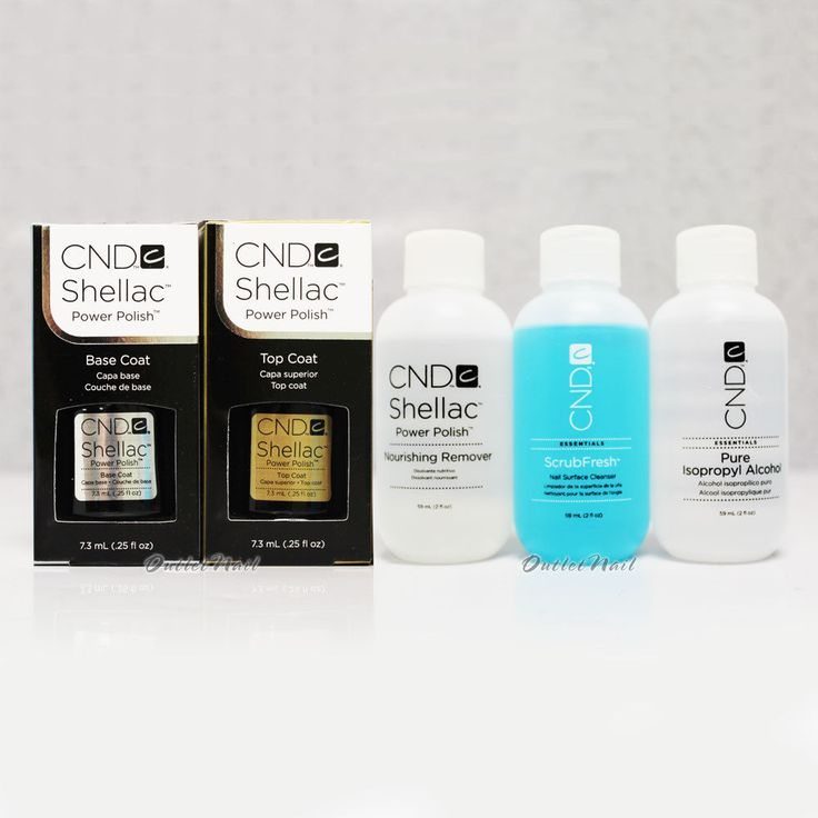 CND Shellac Kit: Base +Top Coat 0.25oz+Nourishing Remover+ScrubFresh+Alcohol 2oz #CND