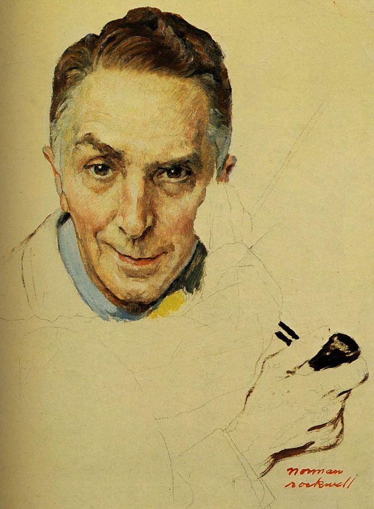 1959  Norman Rockwell   Etude pour Triple Autoportrait, Study for Triple Self-portrait  Huile sur Toile  43x33 cm.jpg