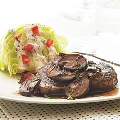 Srring the mushrooms constantly helps release their juices, allowing them to caramelize quickly in this beef tenderloin steak recipe with...