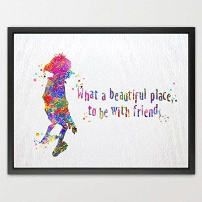 Dignovel Studios 8X10 Dobby Quote from Harry Potter Watercolor illustration Art Print Friendship Quotes Nursery decor Kids Art Print Wedding Birthday Gift N078