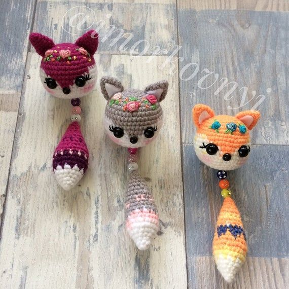 Crochet Keychain Amigurumi Fox Animals Crochet Key ring Animals Pendant