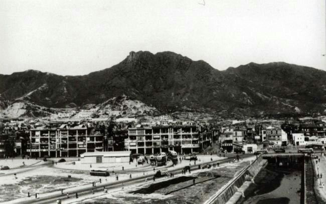 Kowloon City roundabout bus terminus in Hong Kong in the 1950s.