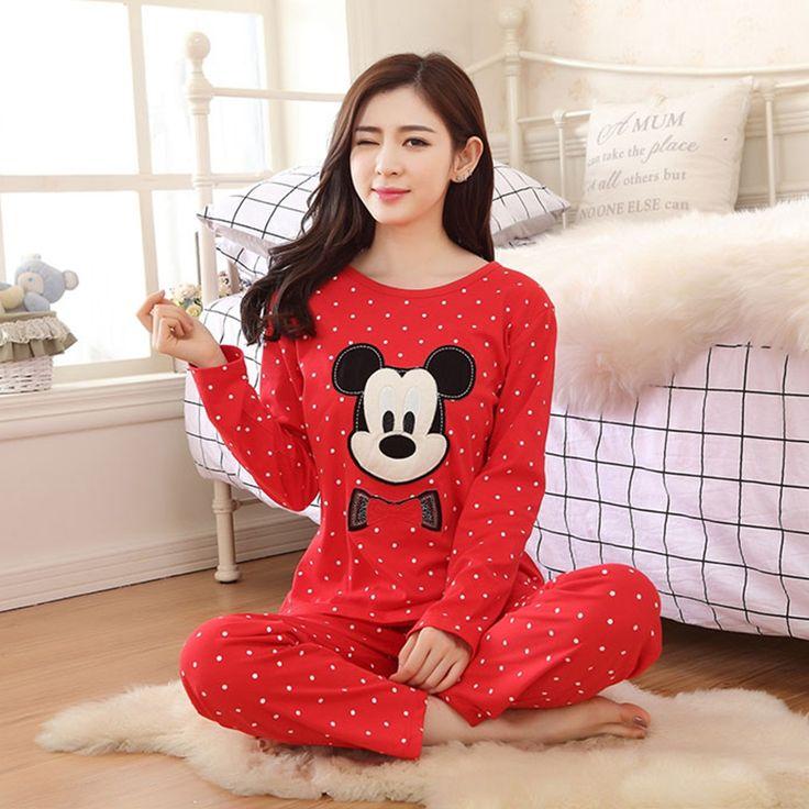2017 del Otoño Mujeres de Los Pijamas Panda Pijamas Mujer Patrón Animal Lindo de la Historieta Pijamas de Algodón Establece Femme Rojo de Manga Larga ropa de Dormir