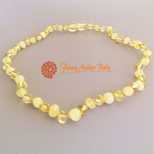 Fancy Amber Baby - Lemon and Buttermilk Amber Necklace