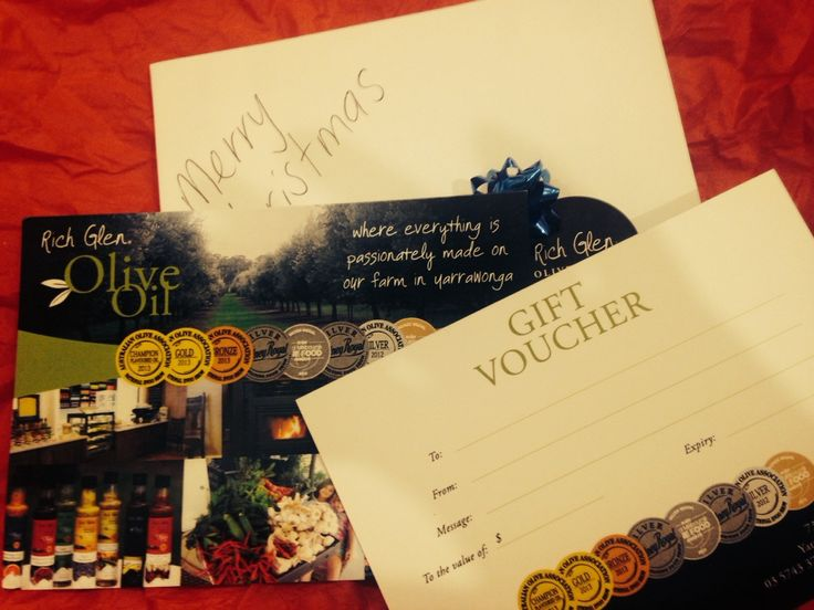 Gift Vouchers available from our Farmgate Store just in time for Christmas! #richglenoliveoil #Christmasgifts