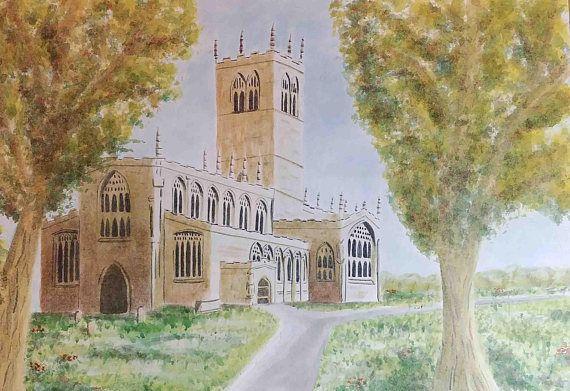 St Swithuns church art print Retford Nottingham