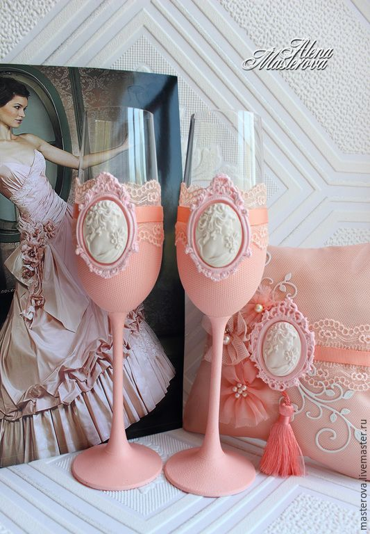 """Свадебные фужеры, коллекция """" Соблазн"""" - коралловый, персиковая свадьба, handmade, wedding"""