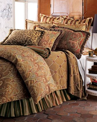 """Cashmere Ruby Paisley"" Bed Linens by Legacy Home at Horchow."