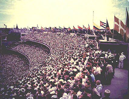 Olympics nostalgia from the Archives - thousands turn out for the 1956 Melbourne Olynpics opening ceremony. NAA: A1500, K3670