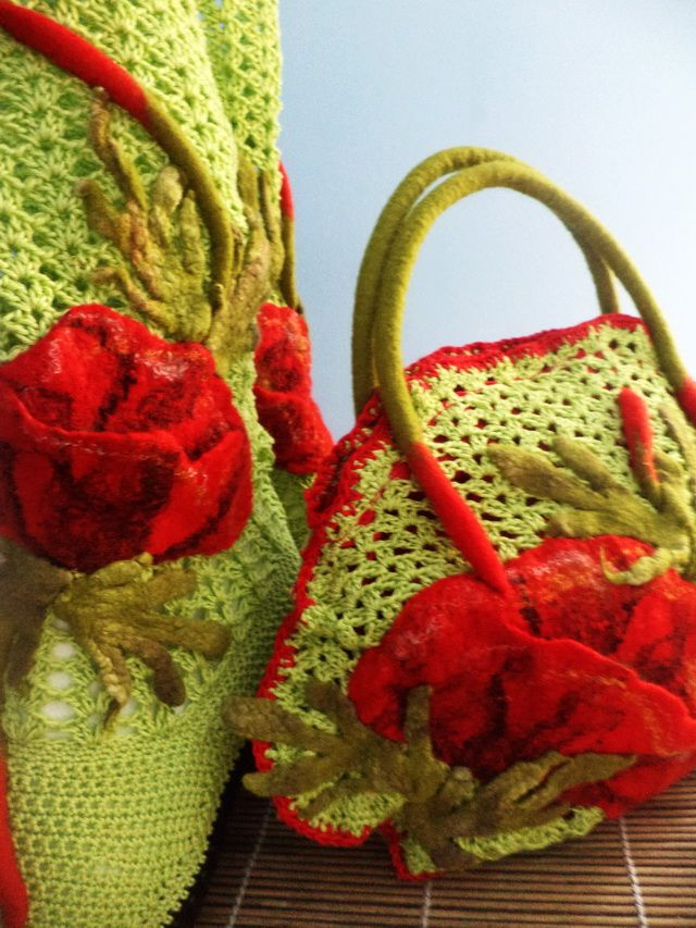 Purse and Boots With Poppies