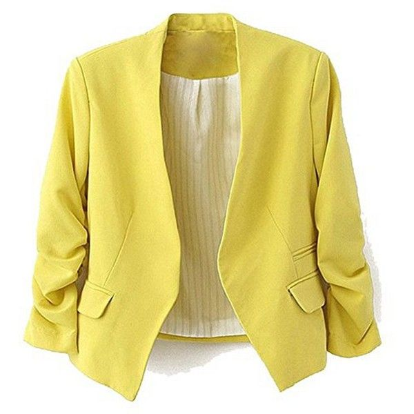 MuMuJia Women's Folding Sleeve Lightweight Office Blazer Candy Color ($15) ❤ liked on Polyvore featuring outerwear, jackets, blazers, short-sleeve blazers, light weight blazer, yellow blazer jacket, sleeve jacket and lightweight jackets